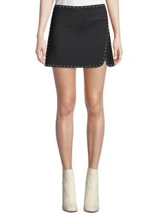 Helmut Lang Studded Side-Split Mini Skirt