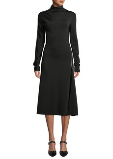 Helmut Lang Studded Turtleneck Long-Sleeve Midi Dress