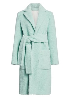 Helmut Lang Teddy Faux Fur Wrap Coat