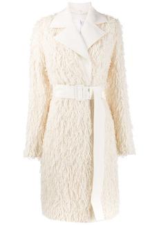Helmut Lang textured fringe coat