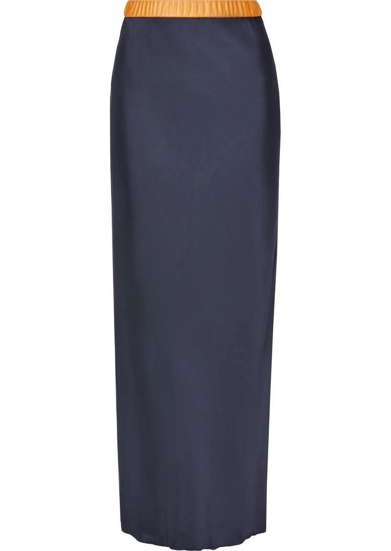Helmut Lang Tulle-trimmed Satin Maxi Skirt