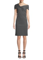 Helmut Lang Twist-Front Asymmetric Cap-Sleeve Dress