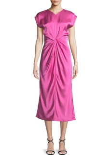 Helmut Lang Twisted-Front Satin Midi Dress