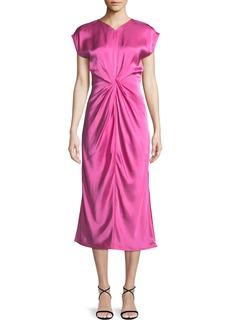 Helmut Lang Twisted-Front Satin Midi Dress