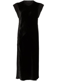 Helmut Lang velvet front shift dress