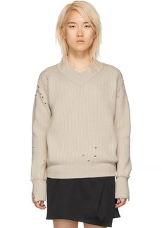 Helmut Lang White Distressed Lambswool V-Neck Sweater