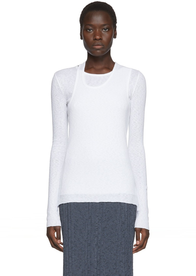 Helmut Lang White Double Layer Long Sleeve T-Shirt