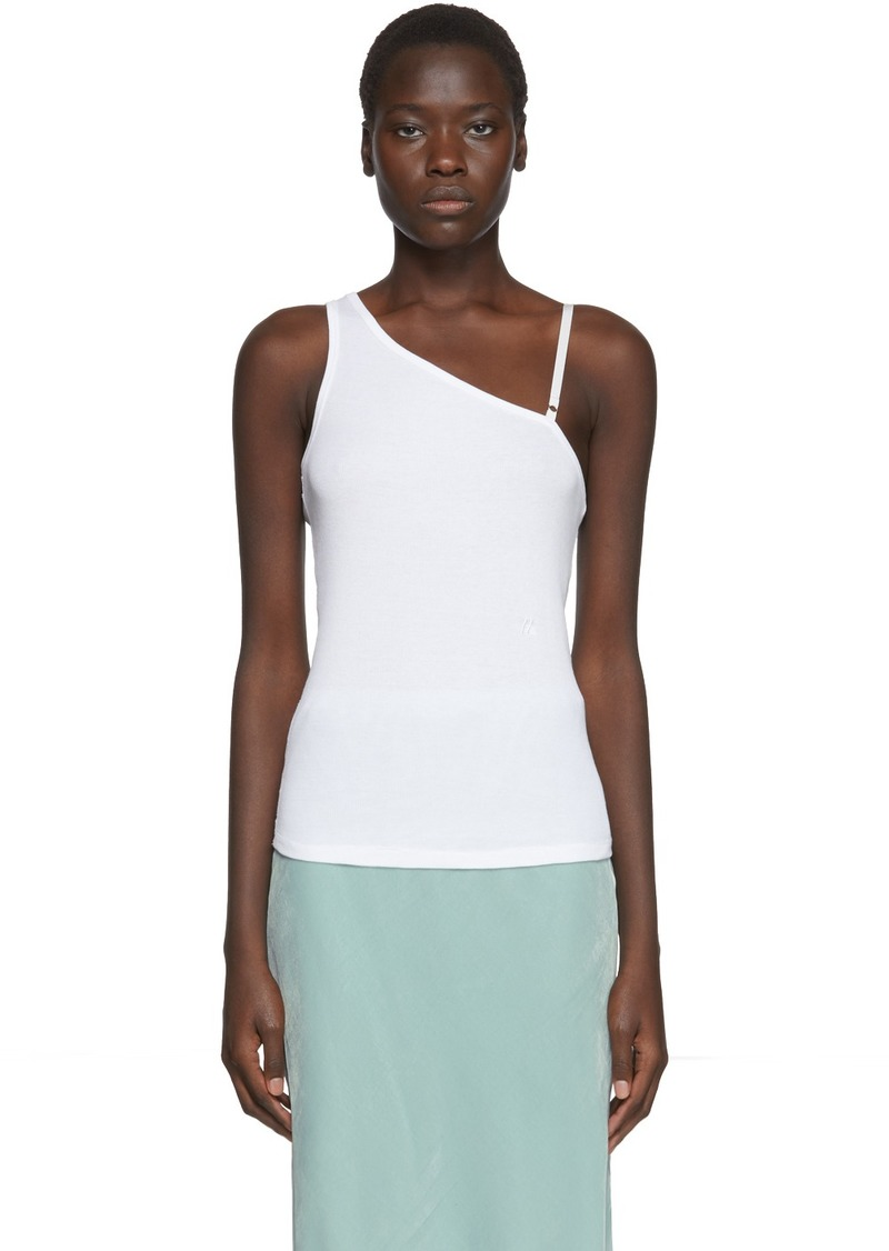 Helmut Lang White One Shoulder Tank Top