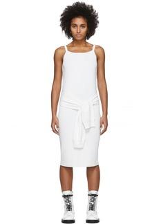Helmut Lang White Rayon Tie Waist Dress