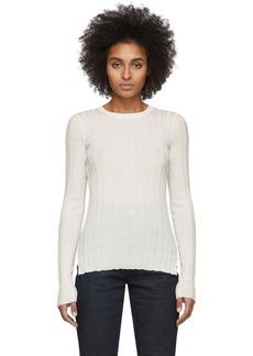 Helmut Lang White Rib Crewneck Sweater