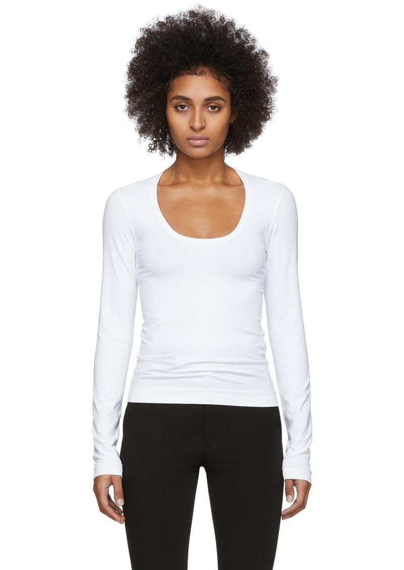 Helmut Lang White Scoop Neck Long Sleeve T-Shirt