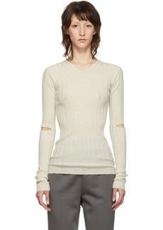 Helmut Lang White Slash Rib V-Neck Sweater