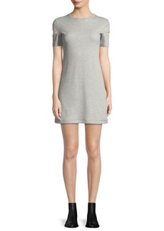 Helmut Lang Wide-Rib Crewneck Cutout-Sleeve Dress