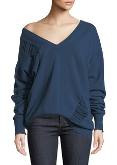 Helmut Lang Wide V-Neck Distressed Wool Pullover Sweater