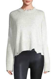 Helmut Lang Distressed Wool & Cashmere Crewneck Knit Sweater