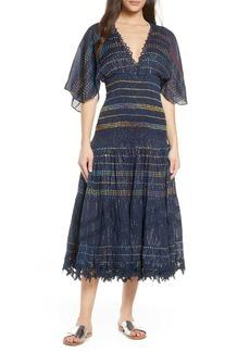 Hemant And Nandita Hemant & Nandita Smocked Stripe Cover-Up Dress