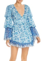Hemant and Nandita Suho Plunging Paisley Mini Dress