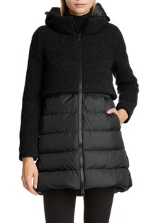 Herno High/Low Knit & Quilted Down Puffer Jacket
