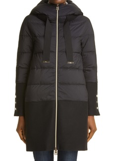 Herno Mixed Media Water Resistant Hooded Down Puffer Coat