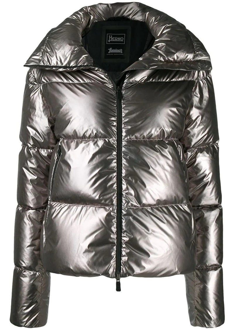 quilted metallic puffer-jacket