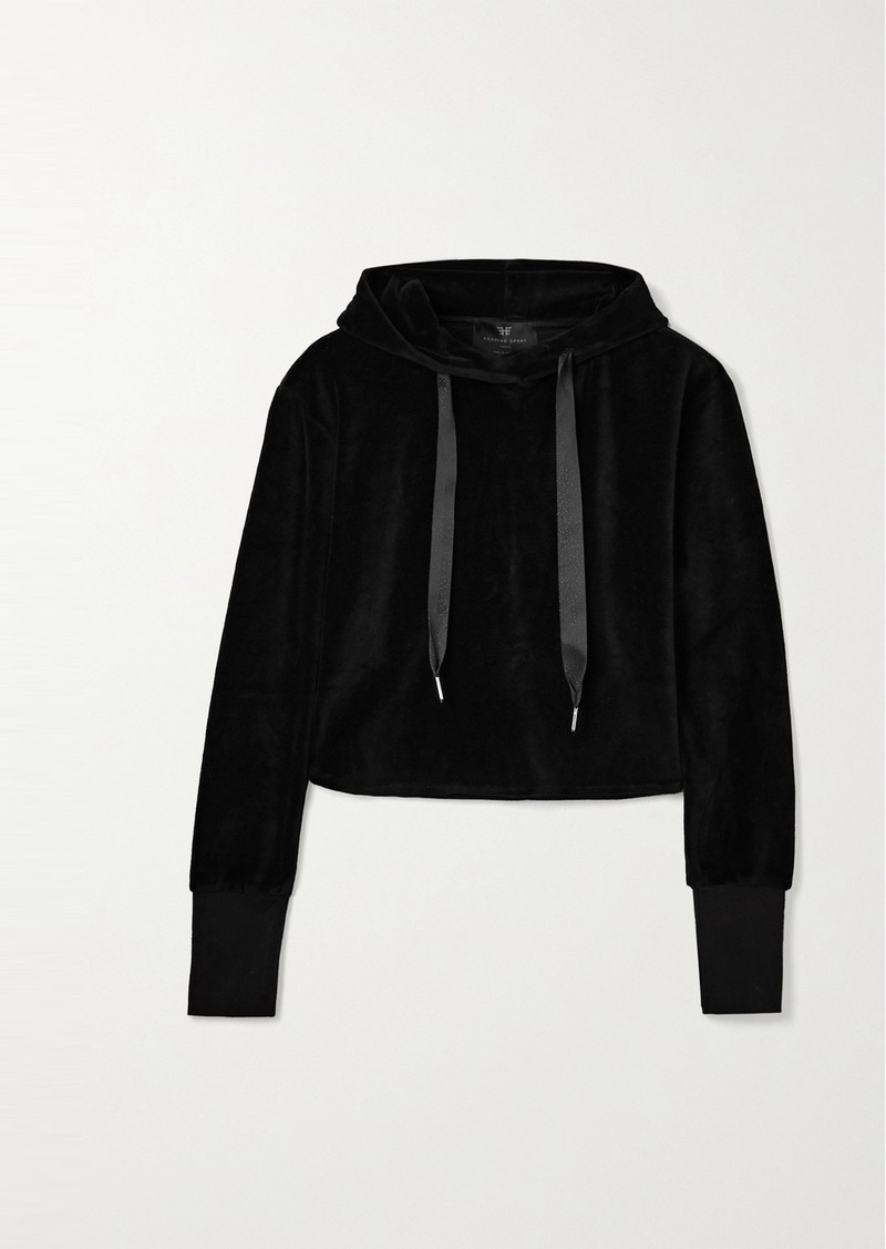 Cropped Cotton-blend Velour Hoodie