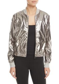 Heroine Sport Zip-Front Metallic Bomber Jacket