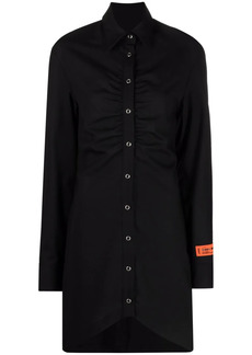 Heron Preston gathered-detail long-sleeve shirt dress