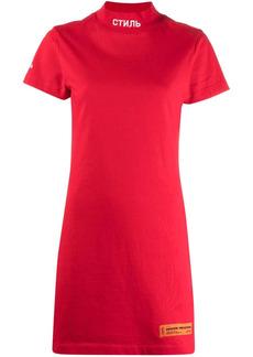 Heron Preston logo-patch short-sleeve dress