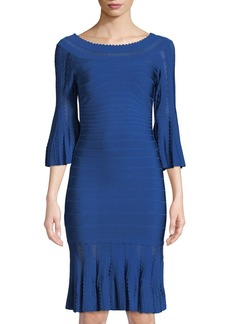 Herve Leger 3/4-Sleeve Pointelle Knit Cocktail Dress