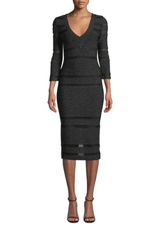 Herve Leger 3/4-Sleeve Shimmered V-Neck Dress