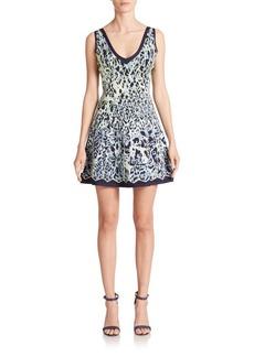 Herve Leger Abstract-Print Knit A-Line Dress