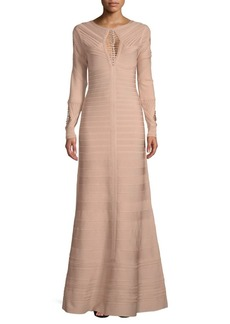 Herve Leger Augustina Long-Sleeve Gown
