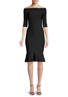 Herve Leger Boatneck Knit Dress