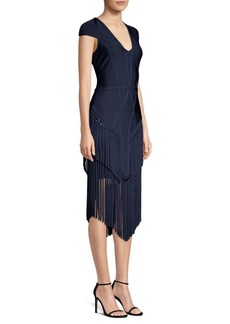 Herve Leger Cap Sleeve Fringe Sheath Dress