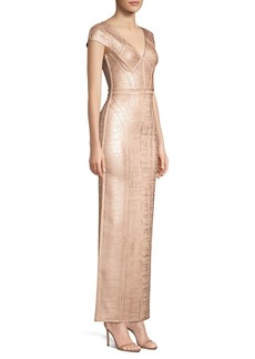 Herve Leger Cap Sleeve V-Neck Foil Gown