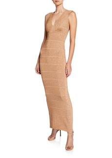 Herve Leger Colorblocked Bandage-Knit Sleeveless Gown