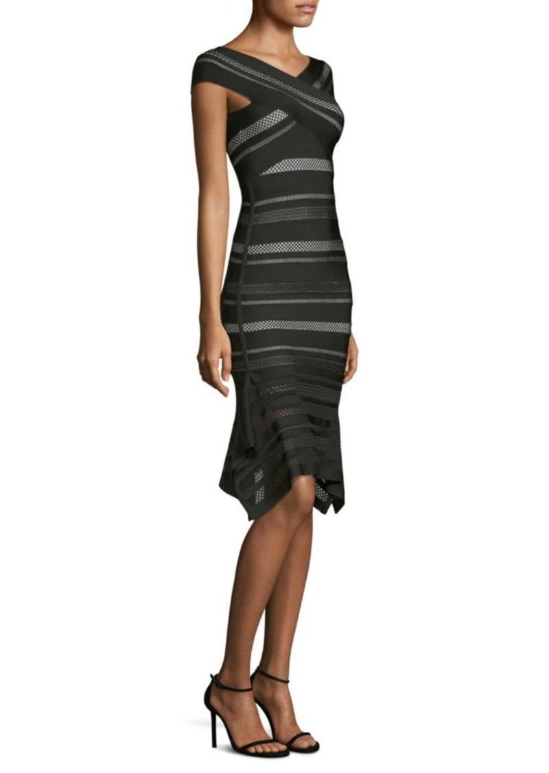 54dc55dc56f Herve Leger Crochet Flutter-Hem Bandage Dress