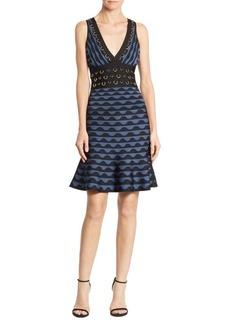 Herve Leger Deep V-Neck Jacquard Dress