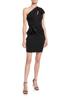 Herve Leger Double-Face Metallic One-Shoulder Dress
