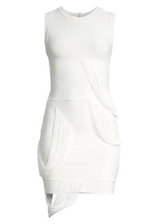 Herve Leger Draped Fringe Mini Dress