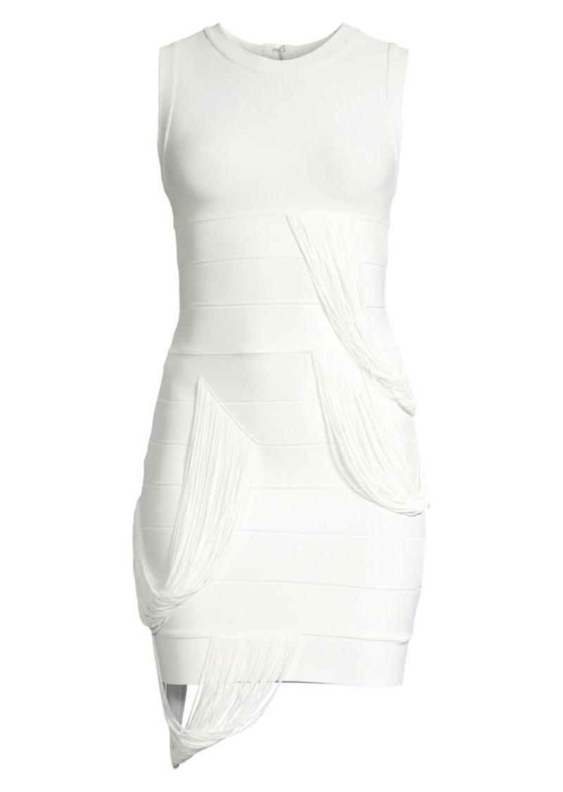 Herve Leger Draped Fringe Mini Dress