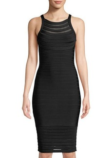 Herve Leger Emily Transparent Picot-Trim Sheath Dress