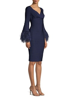 Herve Leger Feather-Trim Bandage Dress