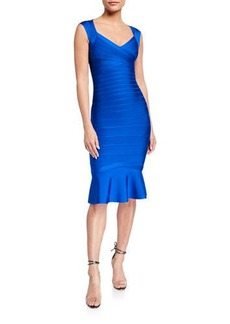Herve Leger Flutter-Hem Bandage Dress