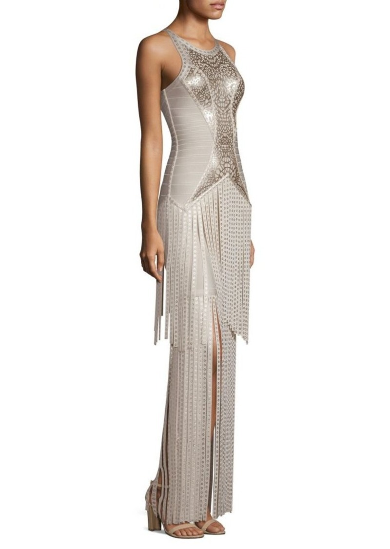 Herve Leger Foil & Fringe Bandage Gown | Dresses