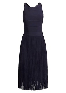 Herve Leger Fringe Skirt Cross-Back Cocktail Dress