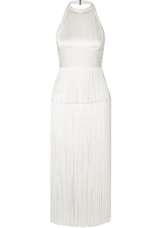 Herve Leger Fringed Bandage Halterneck Midi Dress
