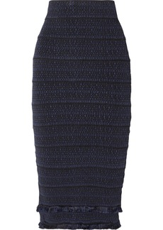 Herve Leger Fringed Jacquard-knit Midi Skirt