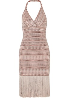 Herve Leger Fringed Metallic Stretch Jacquard-knit Dress