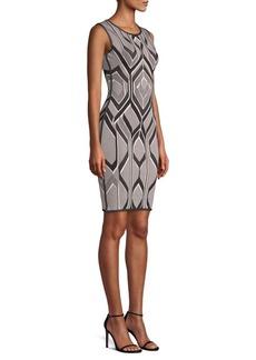 Herve Leger Geometric Jacquard Sheath Dress